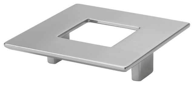 Good Square Pull With Hole, Polished Satin Nickel Transitional Cabinet And Drawer