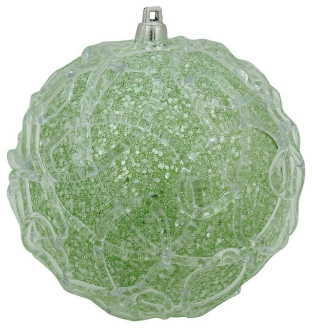 4 pastel dreams soft green glittered swirl design christmas ball ornament contemporary christmas - Pastel Green Christmas Decorations