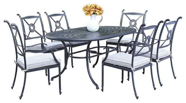 Athens 7-Piece Dining Set With Oval Dining Table And 6 Armchairs.