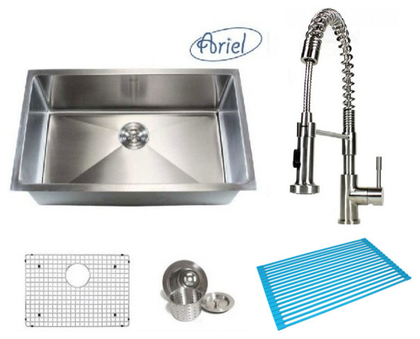 """Ariel Single Bowl Kitchen Sink And Coil Faucet Combo, 30""""."""