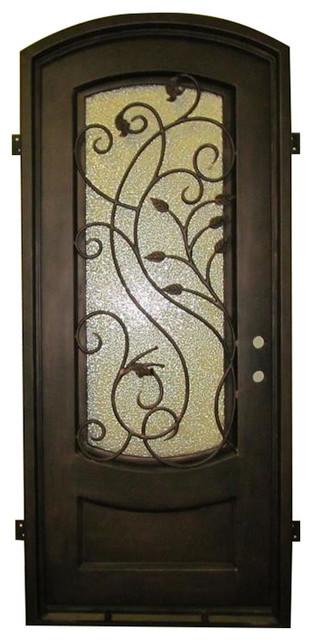 "Palermo 42""x96"", Iron Door, Eyebrow Top, Left Hand Inswing, Flemish Glass."