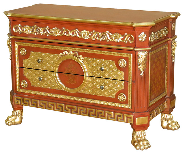 Consigned Antique Italian Style Hand Painted Cherry amp Gold