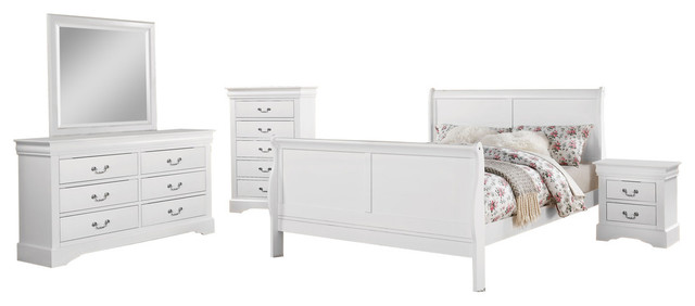 Edward 4-Piece Bedroom Set, White, Queen.