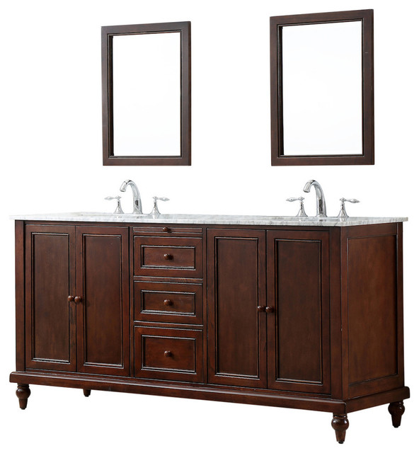 Marchwood Cottage Dark Brown Double Vanity, Carrara Marble, With Mirror.