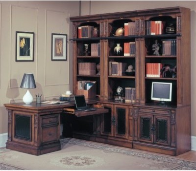 Parker House DaVinci 7 Piece Open Bookcase With Corner Desk And Rolling File