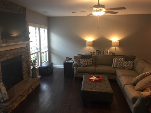 I Need Advice On A Rug For My Living Room Couch Is Gray Taupe Walls Are Sherwin Williams Requisite Floors Dark Hardwood Not Sways Hickory And