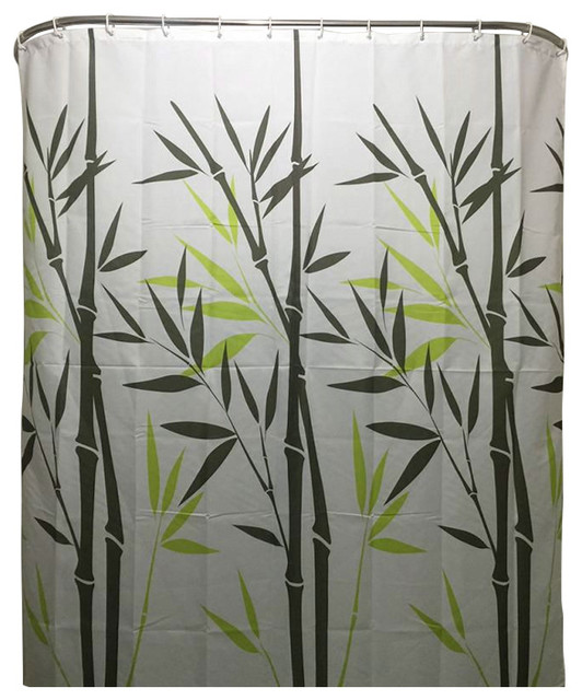 White Black Green Bamboo Leaves Shower Curtain, Polyester Fabric Asian  Shower Curtains
