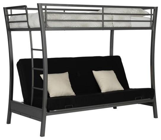 Dhp Metropolis Twin Over Futon Bunk Bed Gun Metal Gray Transitional Beds