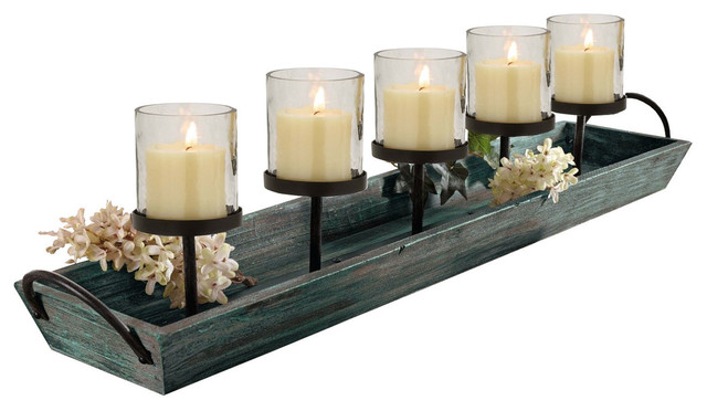 27 5 Rustic Wood Centerpiece Tray With Five Metal Candle Holders 6 Piece Set
