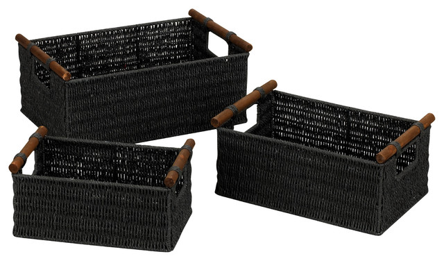 Paper Rope Decorative Baskets With Wood Handles, Set Of 3, Black   Beach  Style   Baskets   By Harvey U0026 Haley