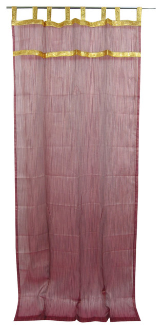 "2 Indian Curtain Golden Sari Border Sheer Organza Window Drapes Panel, 48x108""."