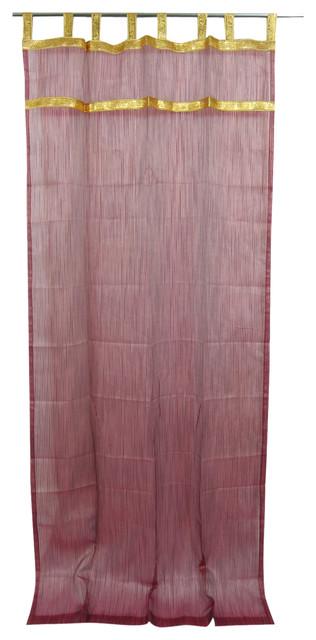 2 Indian Curtain Golden Sari Border Sheer Organza Window Drapes Panel, 48x108.