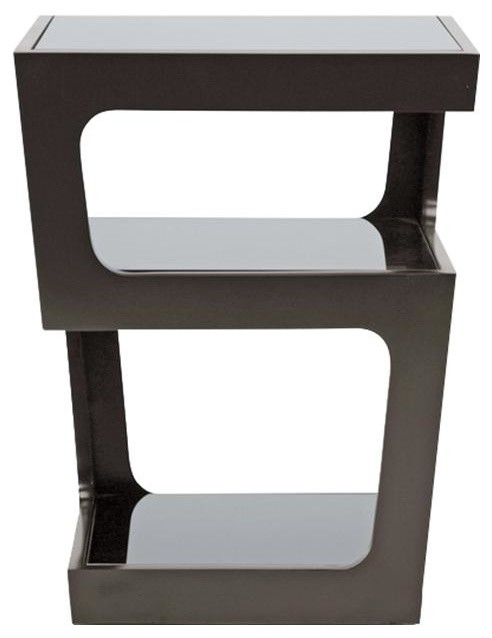 Baxton Studio Clara Black Modern End Table With 3 Tiered Glass Shelves