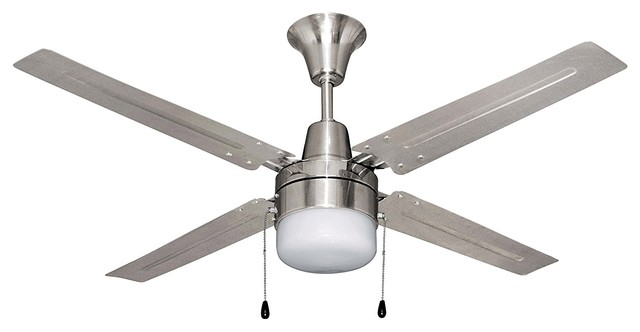 48-Inch Ceiling Fan With Four Brushed Chrome Blades And Single Light.
