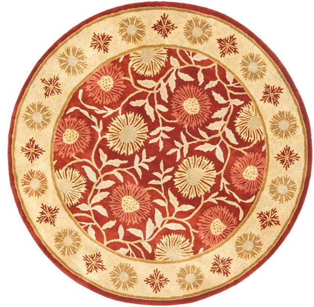 Heritage Rug Red Beige 6 X 6 Round Traditional