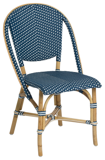 Sofie Outdoor Bistro Stacking Side Chair, Navy And White.