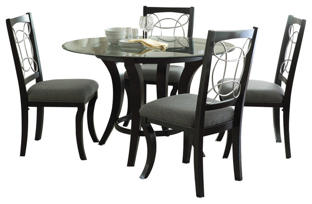 Steve Silver Cayman 5 Piece Round Dining Room Set With Faux Marble In Black Traditional