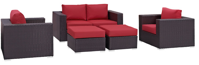 Convene 5-Piece Outdoor Patio Sofa Set, Espresso Red.