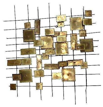 C Jere Style Geometric Brass Wall Sculpture