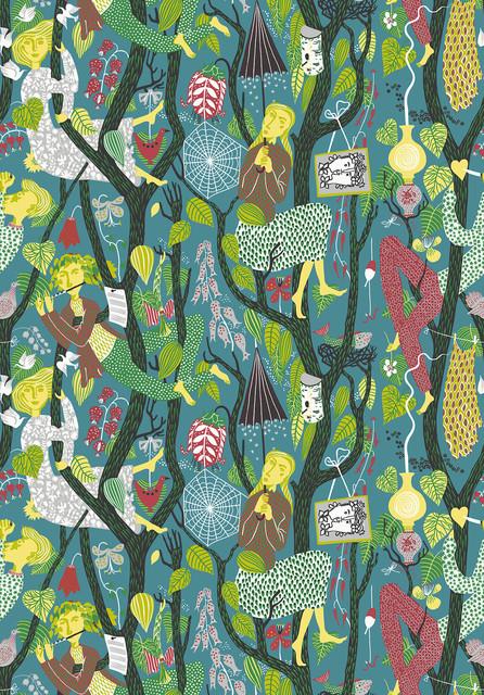 Melodi Teal Folk Wallpaper, Bolt.
