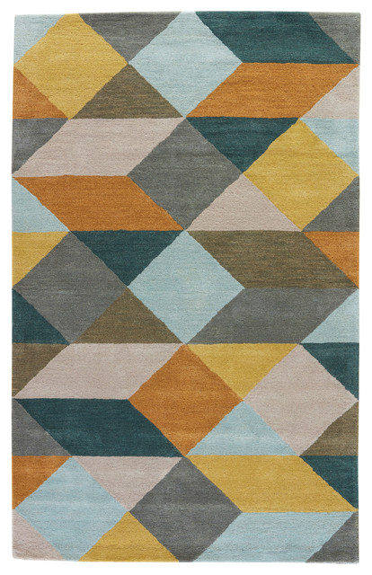 Luli Sanchez By Jaipur Living Ojo Handmade Geometric Gold Teal Area Rug 5