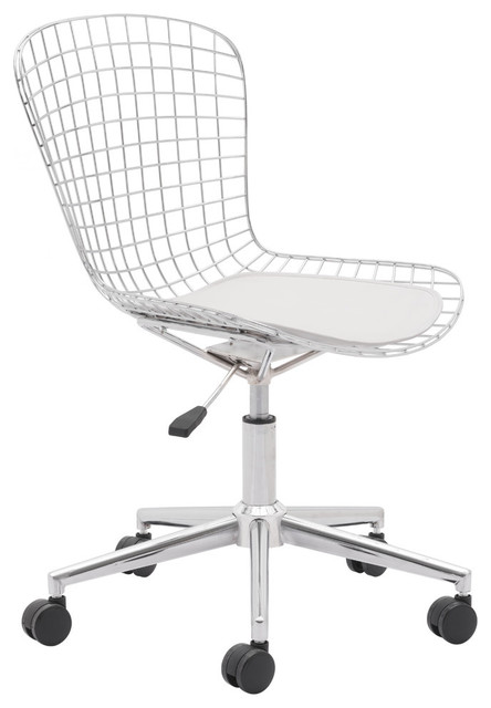 Cool Zuo Wired Swivel Office Chair With Faux Leather Cushion White Evergreenethics Interior Chair Design Evergreenethicsorg