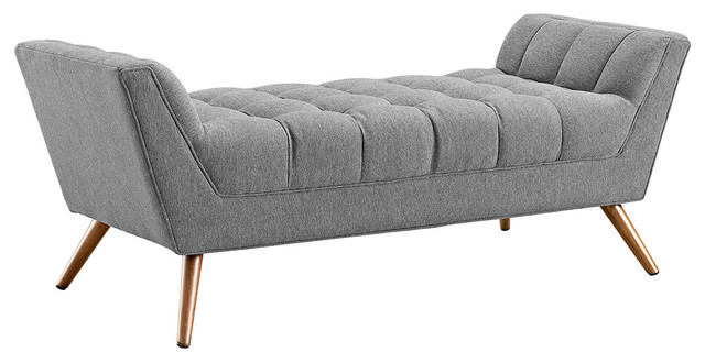 Response Medium Fabric Bench, Expectation Gray.