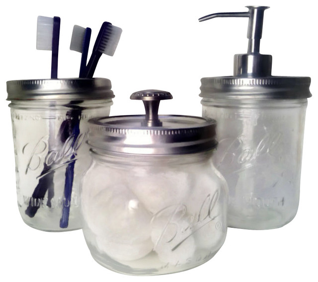 bath mason jars, set of 3 - farmhouse - soap & lotion dispensers