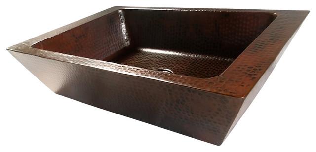 Rectangular Double Wall Vessel Bathroom Copper Sink Rustic Bathroom Sinks By Artesano