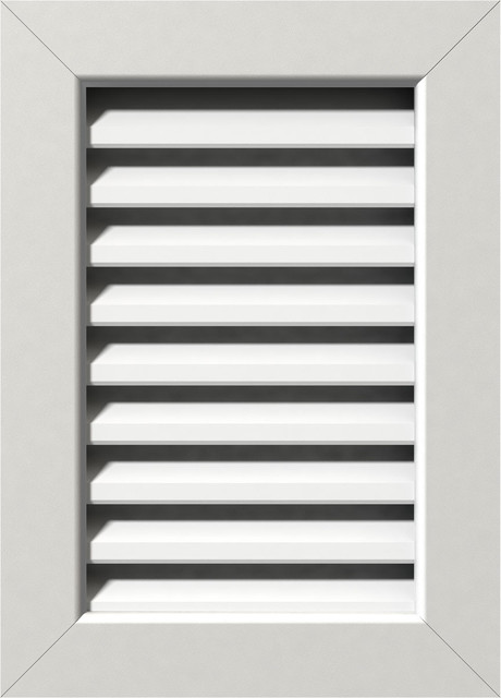 """Vertical Pvc Gable Vent, 23""""w X 29""""h, Unfinished With 1"""" X 4"""" Flat Trim Frame."""