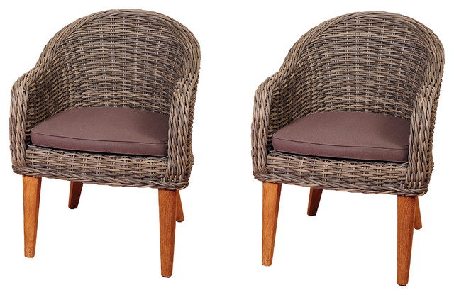 Amazonia Guam 2 Piece Teak And Wicker Arm Chair Set With Brown Cushions  Contemporary