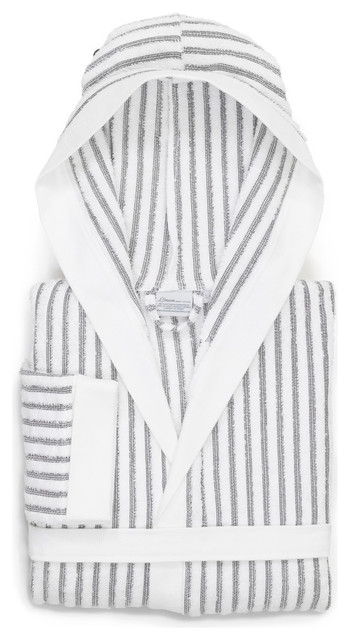 Linum Home Textiles Alev 100% Turkish Cotton Terry Stripe Hooded Unisex  Bathrobe - Contemporary - Bathrobes - by Linum Home Textiles ebb1be873