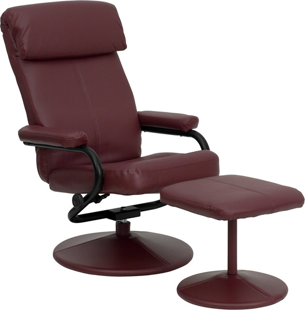 Contemporary Burgundy Recliner And Ottoman, Leather Wrapped Base