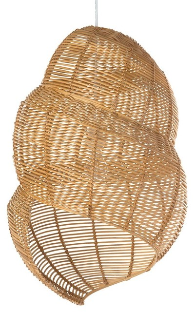 Wicker Coiled Shell Pendant Lamp, Handwoven, Natural Brown.