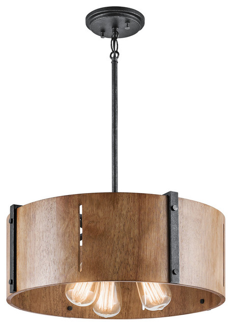 Pendant/semi Flush 3-Light Distressed Black Elbur.