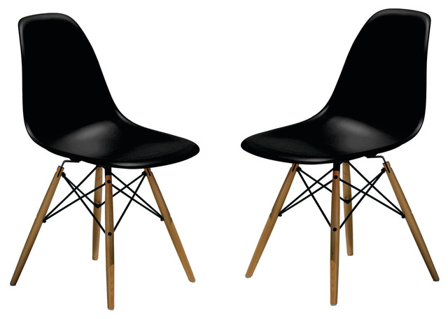Molded plastic side chair wood leg base black shell by for Black plastic dining chairs
