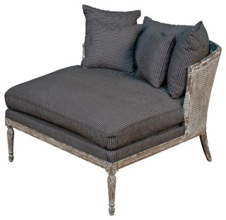 Calais French Country Distressed Oak Cane Back Navy Striped Chaise