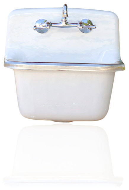 deep basin porcelain farm basin utility sink matte white