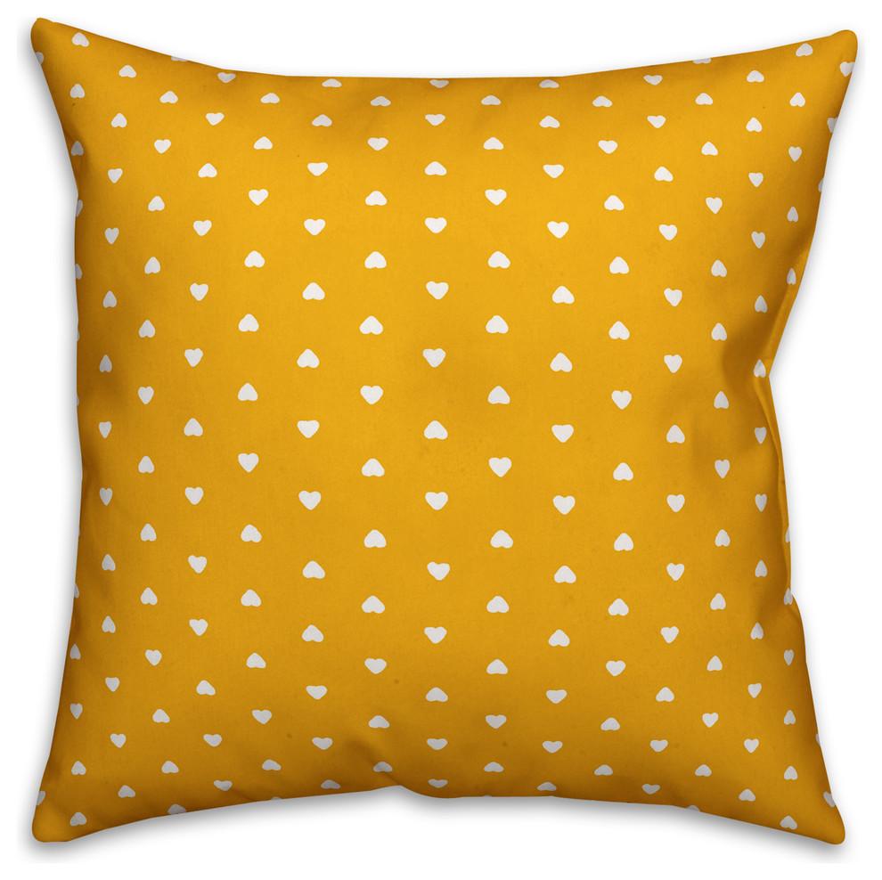 Yellow Outdoor Throw Pillows.Tiny Hearts Pattern Yellow Outdoor Throw Pillow