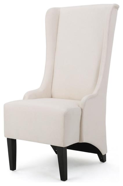 GDF Studio Sheldon Traditional Design High Back Fabric Dining Chair, Beige