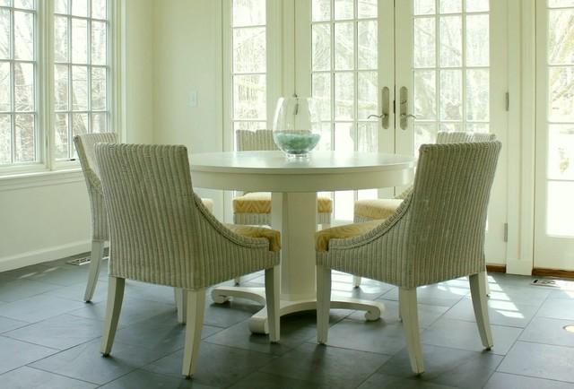 Laurel Bern Interiors | Sunroom | kitchen | family room | Chappaqua, NYTraditional Dining Room, New York