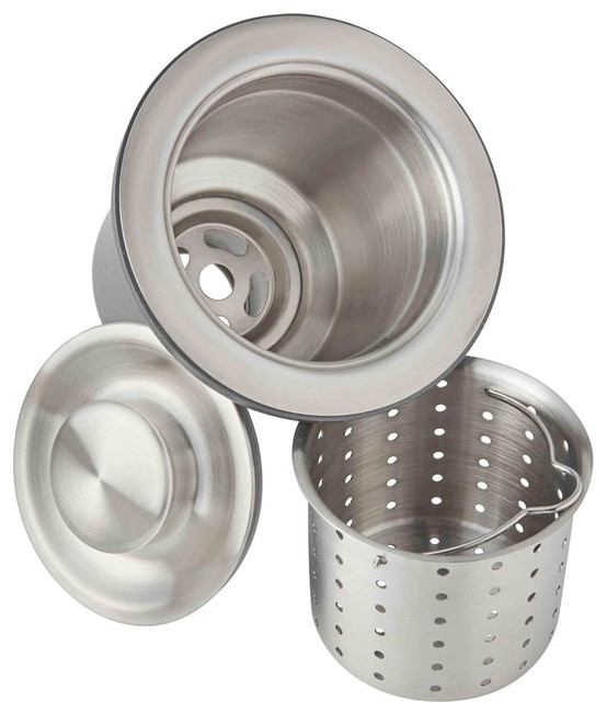 """Elkay 3.5"""" Drain Fitting, Deep Strainer Basket and Brass Tailpiece, Brushed"""