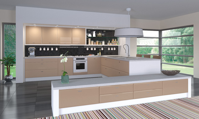 high gloss cappuccino kitchens modern kitchen cabinetry - High Kitchen Cabinets