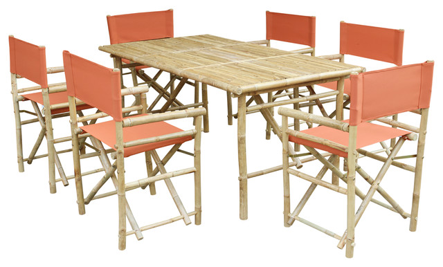 Set of Bamboo Rectangular Table, 6 Director Chair, Pottery