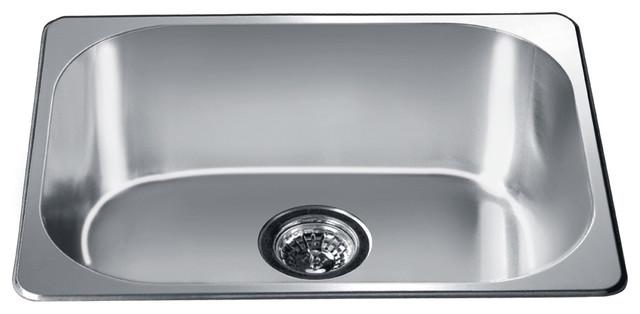 "Dawn 3233 22"" Single Bowl Topmount 20 Gauge Stainless Steel Kitchen Sink."