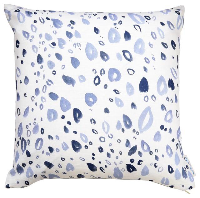 """Linen Throw Pillow, Gray Petals, 10""""x22"""", Without Insert"""