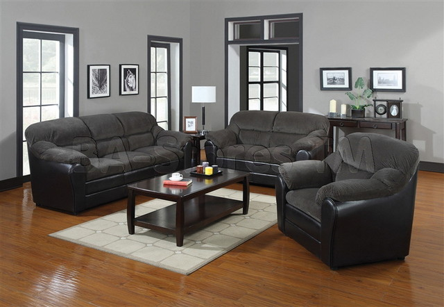 Connell Dark Gray Corduroy and Espresso PU 3 PC Sofa Set (Sofa, Loveseat and Cha