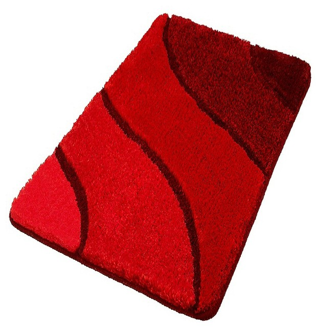 Contemporary Bathroom Mats plush washable red bathroom rugs - contemporary - bath mats