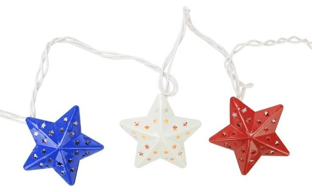 Red, White And Blue Metal Star 4th Of July Patio Christmas Lights.