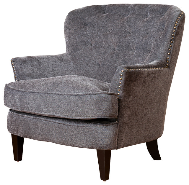 Awesome Melford Royal Vintage Design Upholstered Arm Chair, Gray Fabric Contemporary  Armchairs And